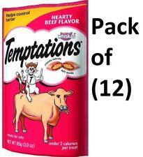(12) Whiskas 72302 3oz Temptations Beef Flavored Cat Snacks Treats Food