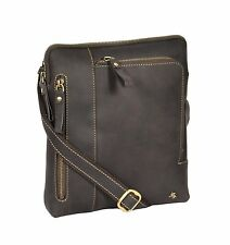Brown Leather Crossbody Bag Vintage Distressed Messenger iPad Tablet Flight Bag