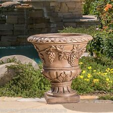 "Large 21"" Brown Stone Roman Decor Outdoor Garden Urn Planter / Flowers Pot4"