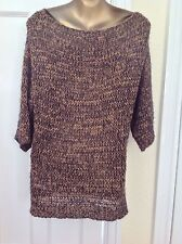 Massimo Dutti Black & Camel Knitted Jumper 3/4 Sleeve M