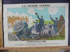 Rare Antique Original VTG WW1 Un Coin De La Bataille De La Marne Litho Art Print