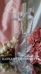 Swarovski Crystal Personalized Wedding Toast Champagne Glass Flute Bling Sparkle