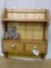 Solid Pine Plate Rack 2 Shelves 2 drawers Mini Dresser Kitchen Shelf Unit