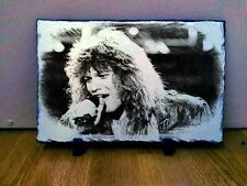 "Jon Bon Jovi Sketch Art Portrait on Slate 12x8"" Rare memorabilia collectables"