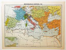 HISTORICAL MAP MEDITERRANEAN COUNTRIES 1789 OTTOMAN EMPIRE FRANCE SPAIN