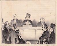 Lithographie Caricature Honoré DAUMIER Justice Tribunal Magistrat Court 1839