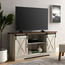 Farmhouse TV Stand Sliding Barn Door Entertainment Center Rustic Wood Console