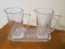 Vintage Pressed / Cut  Glass 2  Jugs  with Tray - Gift Idea