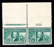US 323 1c Louisiana Purchase Mint Top MI Plate Pair #2120 VF OG NH SCV $170