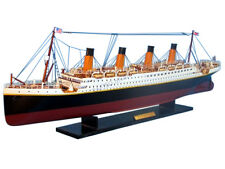 "RMS Titanic Ocean Liner Handcrafted Wooden Model Ship 40"" White Star Boat Line"