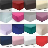 Fitted sheet 100% poly Cotton Plain elastic Stretch Single,Double,king,SuperKing