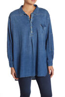 Free People Womens Henley OB807814 Top Relaxed Navy Blue Size XS
