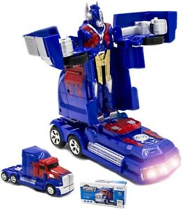 OPTIMUS PRIME MONSTER TRUCK TRANSFORMERS ROBOT BUMP & GO CAR BOYS GIRLS TOYS