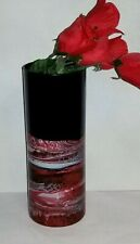 Red Black Glass Vase/Hand Painted Red Glass Vase