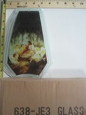 FREE US SHIP OK Touch Lamp Replacement Glass Panel Jesus with Children 638-JE3