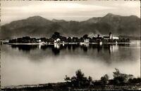 Fraueninsel im Chiemsee Bayern AK ~1950/60 Blick über den See auf die Insel Berg