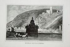 Burg Pfalz Kaub Gutenfels Rhein  Rheinland-Pfalz alter  Kupferstich 1835
