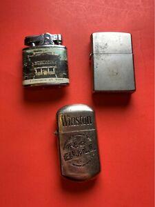 "Vintage Lighter Lot 3 Lighters 1 Zippo 1 Winston ""No Bull"" 1 Prince Dai-Butsu"
