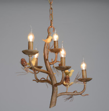 Industrial Resin Branch Chandelier Bird Candle LED Pendant Ceiling Light Lamp