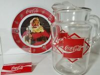 Coca Cola Coke VTG Clear Glass Pitcher w/Ice Lip Red Ltr Plate Acrylic Pic Frame