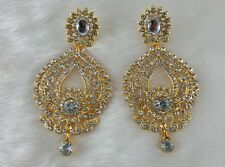 Fashion Style White Stone crystal covering Design Party Wear Gold Plated Earring