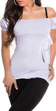 SeXy Miss Damen Dekollete Carmen Top Shirt 34/36/38 satin glanz Schleife weiß
