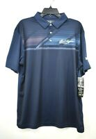 Ben Hogan Performance Men Blue Mobil 1 Logo Short Sleeve Stretch Polo Shirts
