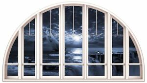Huge 3D Arched Window Fantasy Pirate Ship View Wall Stickers Film Art Decal 449