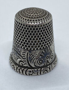 Rare Antique Hand Engraved Ornate Sterling Silver Thimble!