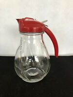 Vintage Federal Tool Corp Glass Syrup Dispenser - Red Top Art Deco