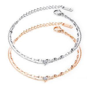 Damen Armband Edelstahl 2-reihige Armkette Zirkonia Armschmuck Silber Roségold