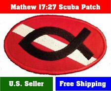 "Christian Diver Down Oval Patch Mathew 17:27 Scuba 4""x2.5""  Iron-On Fish bounty"