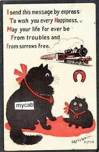 Postcard Louis Wain artist signed Lucky Black Cat by Alpha posted 1919 damaged