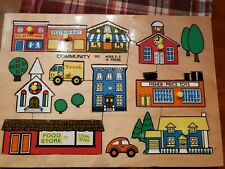 Vintage 1972 Fisher-Price #502 Community Pick Up & Peek Wooden Puzzle Holland