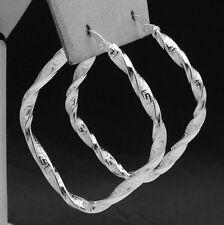 "Twisted Greek Key Hoop Earrings Sterling Silver 1.5"""