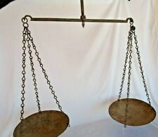 Old  Iron Mercantile Scale HAND Balance Chain Hanging India TARAJU round pan