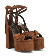 *BNIB* SAINT LAURENT - Paige Brown Suede Platform Sandals - 38