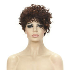 Asymmetrical Side Bang Short curly Fashion Brown with Blonde Highlights hair wig