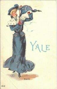 Illustrated PC Yale University College Girl in Blue Dress 1905