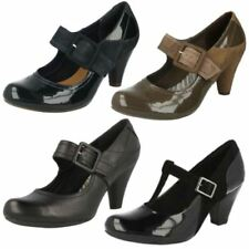Clarks 100% Leather Mary Janes Slim Heels for Women
