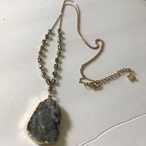 """Cato Long Dursey Necklace Purple Stone Trimmed In Gold Crystals Beads Sz 24"""""""
