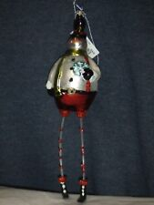 FANCY GLASS CHRISTMAS TREE ORNAMENTLONG LEG SNOWMAN  #213