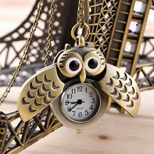 Hot Cartoon Retro Bronze Owl Pocket Watch Sweater Chain Necklace Slide Watch #&