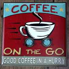 Metal Tin Sign coffee on the go Bar Pub Vintage Retro Poster Cafe ART