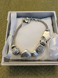 Sterling Silver Trollbeads 6 Charms Bracelet With Original Box