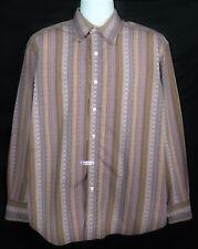 Robert Graham Shirt Men's XL Long Sleeve Flip Cuff Button Front Cotton Striped