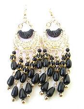 Black & Gold Drop Bead Earrings 1920s Flapper Great Gatsby Chandelier Vtg 5AD