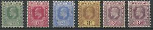 Cayman Islands SG25-28;30,30a 1907 1/2d to 3d; 6d x2 M/M