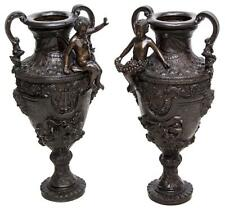 "(PAIR) LARGE PATINATED BRONZE FIGURAL URNS, 32""H"