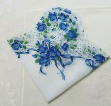 Beautiful Blue Roses & Ribbons Dotted Scalloped Edge Hankie Handkerchief
